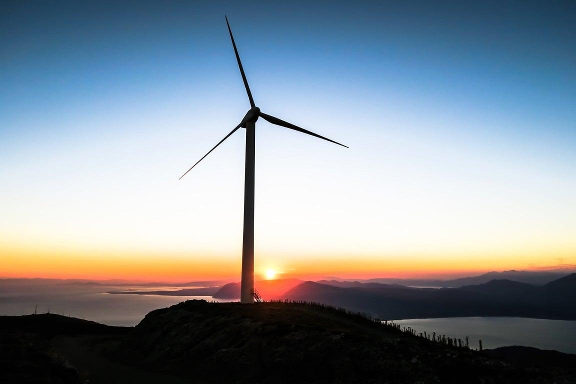wind turbine on cliff